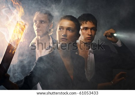 Business people considering new ways of development - stock photo