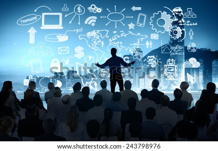 Business People Corporate Cityscape Seminar Conference Presentation Concept - stock photo