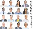 Business People Corporate Set of Faces Concept - stock photo