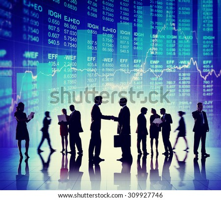Business People Deal Collaboration Stock Exchange Concept - stock photo