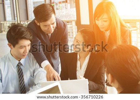 Business people discuss or meeting in the city. - stock photo