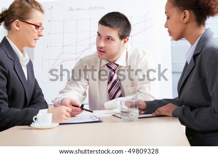 Business people discussing in a meeting at office - stock photo