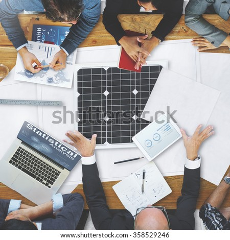 Business People Discussing Solar Power Environment Concept - stock photo