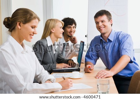 Business people discussing the plan of company development - stock photo