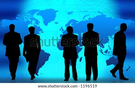 Business people doing different things in front of a world map. - stock photo