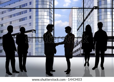 Business people doing different things in front of an office window - stock photo