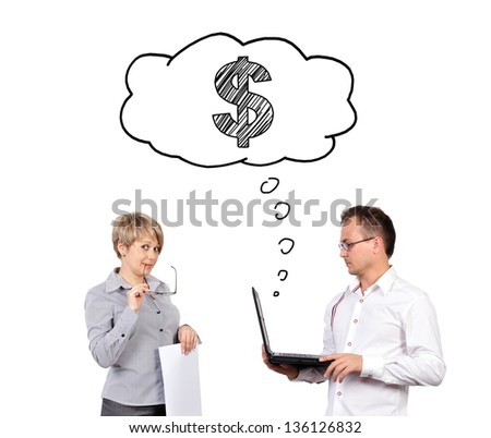 business people dreaming with laptop on white background