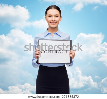 business, people, employment and law concept - young smiling businesswoman holding clipboard with contract over blue sky and clouds background - stock photo