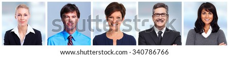 Business people faces group. Financial and accounting concept. - stock photo