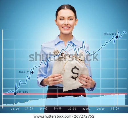 business, people, finances, investments and banking concept - young businesswoman holding money bags with euro and chart over blue background - stock photo