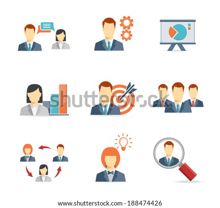 Business people for Web and Mobile App Flat icons  on white background - stock photo