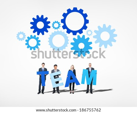 Business People Forming Team and Gears Above