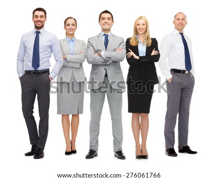 business, people, gesture and office concept - group of smiling businessmen - stock photo