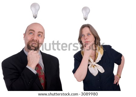 Business people getting ideas with light-bulds over their heads isolated over white - stock photo