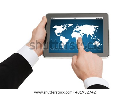 business, people, global communication, network and technology concept - close up of man hands holding tablet pc computer with world map on screen