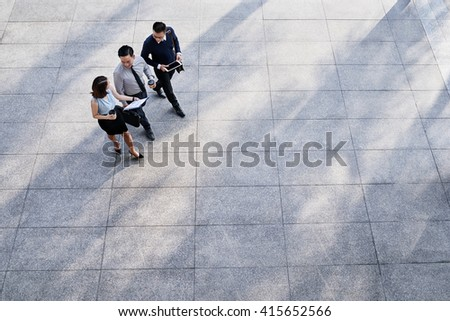 Business people going to work in the morning, view from above - stock photo