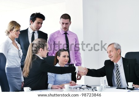 business people  group at a meeting in a light and modern office environment.