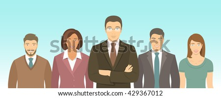 Business people group flat illustration. Successful team of young ambitious men and women in business suits. Office staff employment concept. Leader with his team. New business start up - stock photo