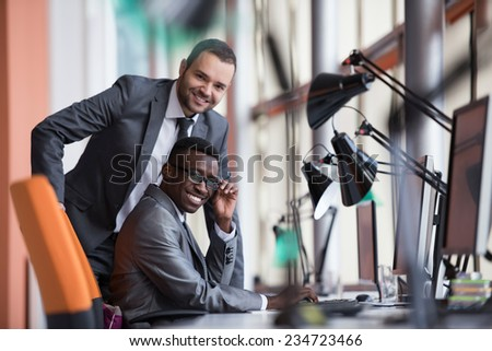 business people group have meeting and working in modern bright office indoor - stock photo