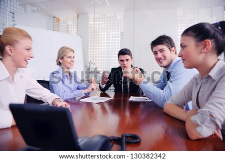 business people group have video meeting conference  at office - stock photo