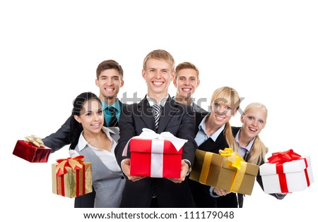 Business people group holding present gift box with ribbon bow, young businesspeople standing together happy smile give wrapped giftboxes, portrait Isolated over white background