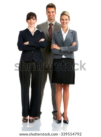 Business people group isolated over white background.