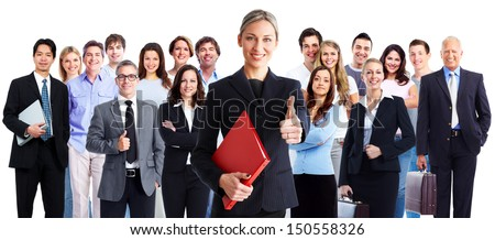 Business people group. Isolated over white background. Education.