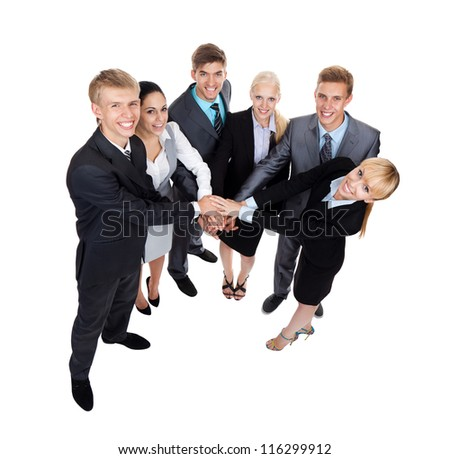 Business people group team hold pile hands, young businesspeople putting their hand on top each other, full length top angle view, concept team, working together smile, Isolated over white background