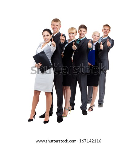 Business people group team hold thumb up finger gesture, standing in row line, businesspeople happy smile, full length portrait Isolated over white background - stock photo