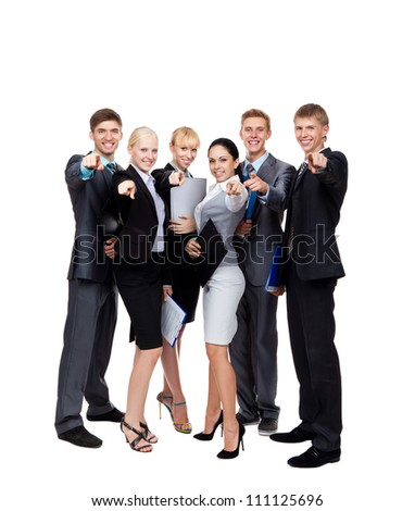 Business people group team point finger at you, young businesspeople standing together happy smile, hold folder clipboard, full length portrait Isolated over white background - stock photo
