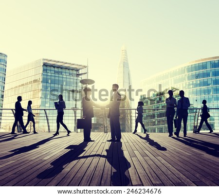 Business People Handshake Greeting Agreement Talking Deal Concept - stock photo