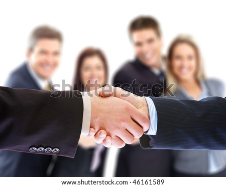 Business people. Handshake of businessmen. Over white background - stock photo