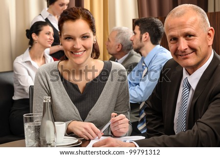 Business people have company meeting at restaurant conference room - stock photo