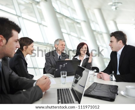 Business people having a business meeting - stock photo