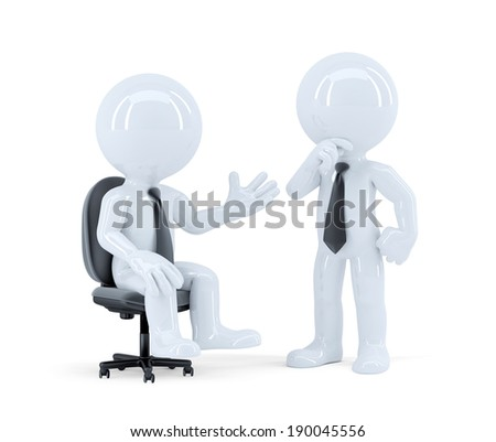 Business people having a meeting. Isolated. Contains clipping path. - stock photo