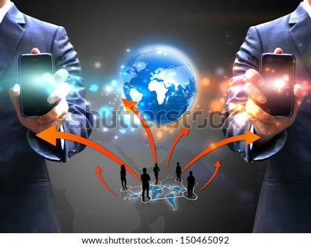 Business people holding social network  - stock photo