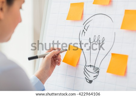 business, people, idea, startup and education concept - close up of hand with marker drawing light bulb or writing to sticker on flip chart at office - stock photo