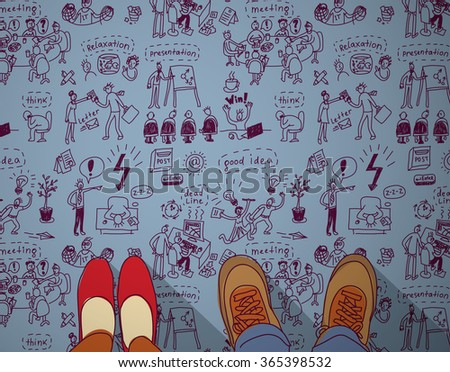 Business people ideas creative couple think and doodles. Color illustration. - stock photo