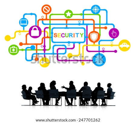 Business People in a Meeting and Security Concepts - stock photo