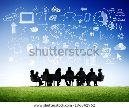 Business People in a Meeting and Social Media Concepts - stock photo