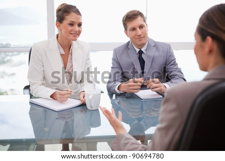 Business people in a negotiation - stock photo