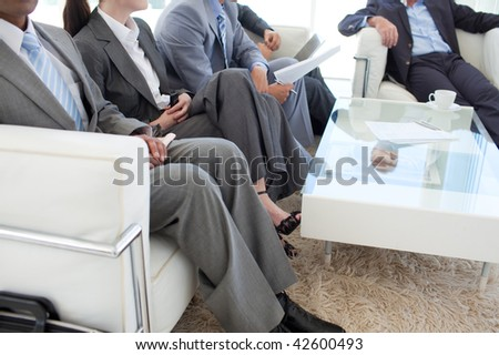 Business people in a waiting room before a job interview - stock photo