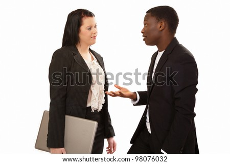 Business people in conversation mixed race - stock photo