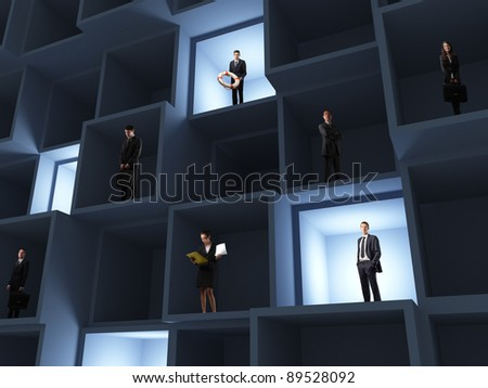 business people in 3d box - stock photo