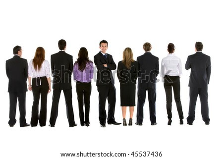 Business people in line from behind and a man facing the camera isolated
