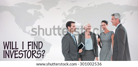 business people in office against grey background - stock photo