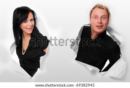 Business people in paper hole. - stock photo