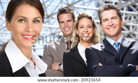 Business  people in the downtown. Businessmen and business woman