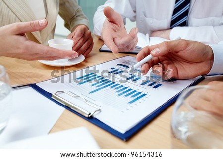 Business people in the middle of an important discussion - stock photo