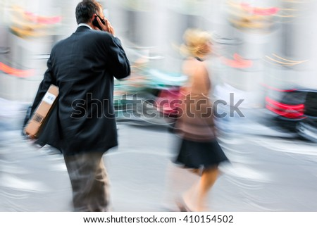 business people in the street and a blurred background - stock photo